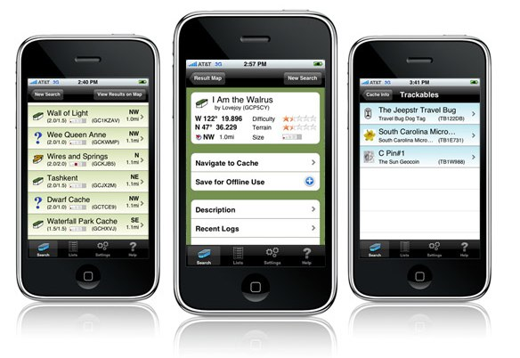 Geocaching iphone app
