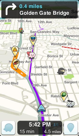 Waze social GPS traffic & gas iphone app