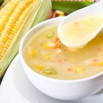 Chicken Corn Soup with Garlic Bread