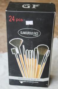 Cardboard Packaging of Glamorous Face USA makeup brushes