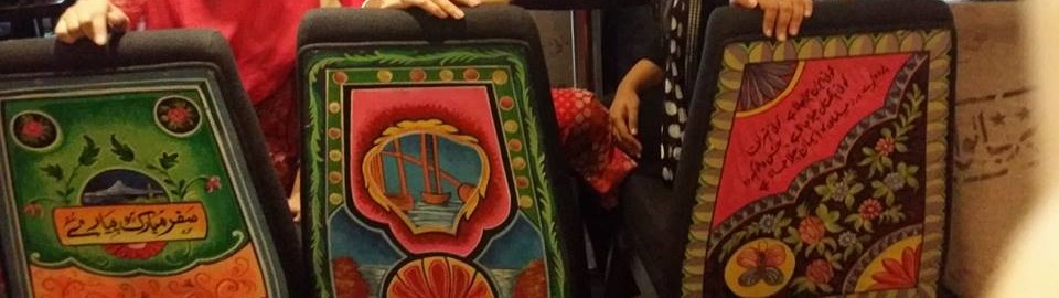 the chairs with crafted local cultural truck art in Sattar Buksh